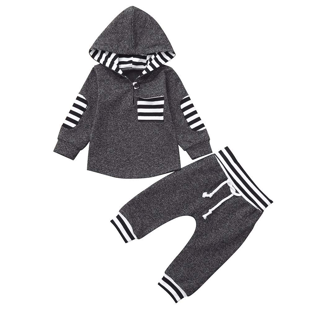 Minshao Baby Clothing Sets Infant Toddler Baby Boys Girls Striped Hoodie Pullover Tops Pants Outfits Set for 3 Months-3 Years Old