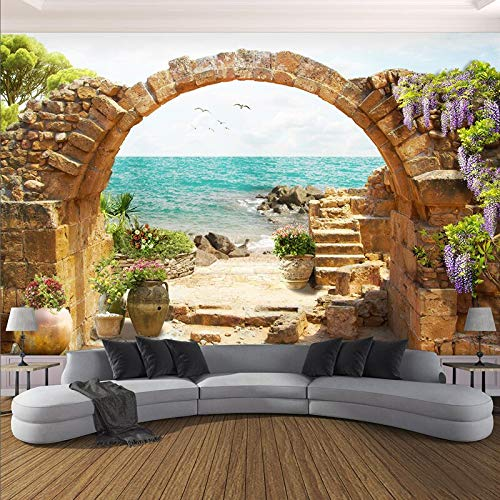 XZCWWH Custom 3D Wall Murals Modern Garden Stone Arches Sea View Photo Wallpapers 3D Wall Cloth Living Room Tv Home Decor Wall Covering,350cm(W)×256cm(H)