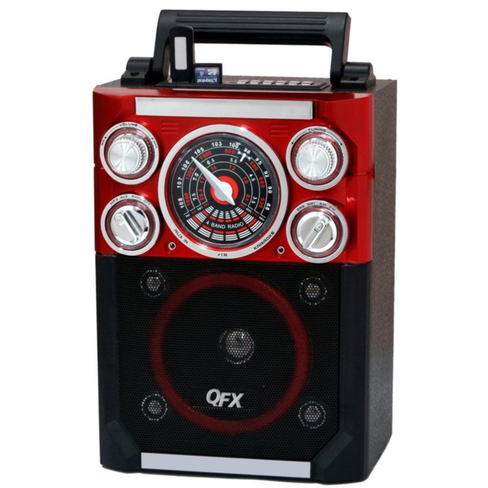 QFX Karaoke Multimedia Speaker with FM Radio- Red consumer electronics Electronics