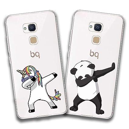 jrester 2 X Funda BQ Aquaris V Plus,Unicornio Swag + Panda Swag Flexible Suave Transparente TPU Gel Silicona Anti-Arañazos Smartphone Cascara ...