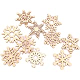 Tinksky Christmas Tree Ornaments Wooden Hanging Snowflake Xmas Decorations, Pack of 10