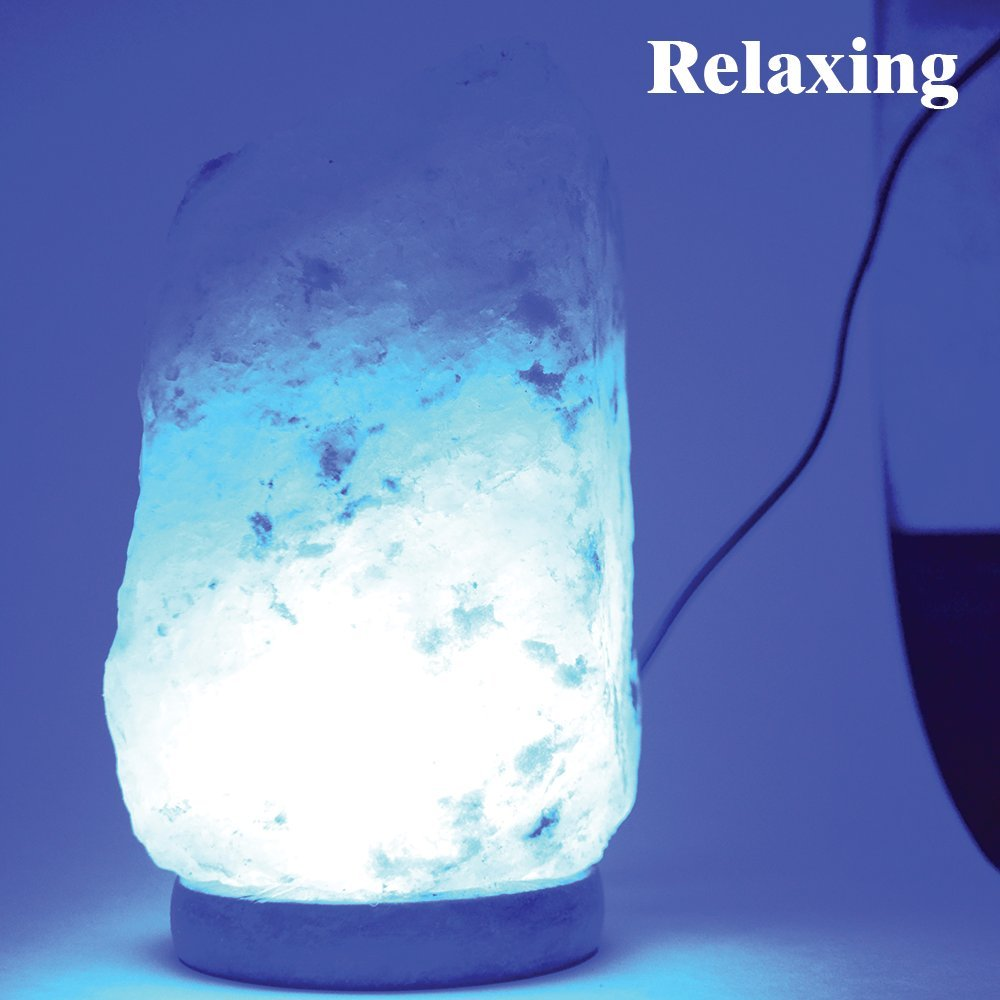 Himalayan Glow 900AC Multi-color USB Salt lamp, ETL Certified Himalayan salt lamp with wooden Base by WBM