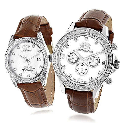Matching His and Hers Watches Luxurman White MOP Gold Plated Diamond Watches