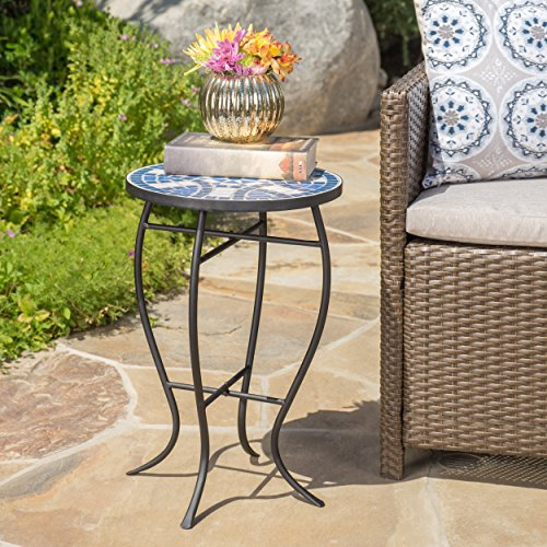 Christopher Knight Home 301162 Harington Outdoor Blue White Ceramic Tile Iron Frame Side Table, White Blue