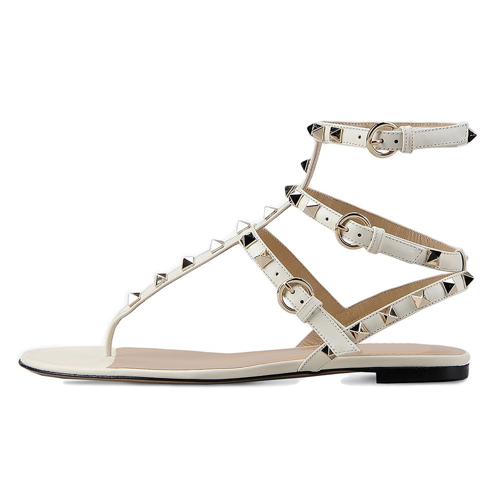VOCOSI Women's Rivets Studded Flats Shoes T-Strap Strappy Flats Thong Sandals Shoes B071NZKGQ7 9 B(M) US|White