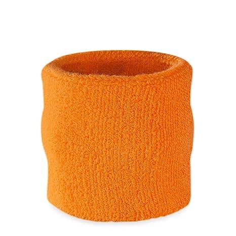 Suddora - Muñequeras, algodón, 1 unidad, naranja fluorescente: Amazon.es: Deportes y aire libre