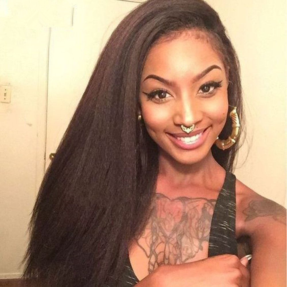 Romance Hair Natural Color Italian Yaki Lace Front Wigs Kinky Straight Lace Front Human Hair Wigs With Baby Hair Brazilian Virgin Hair Wigs for Black Women 16 Inches