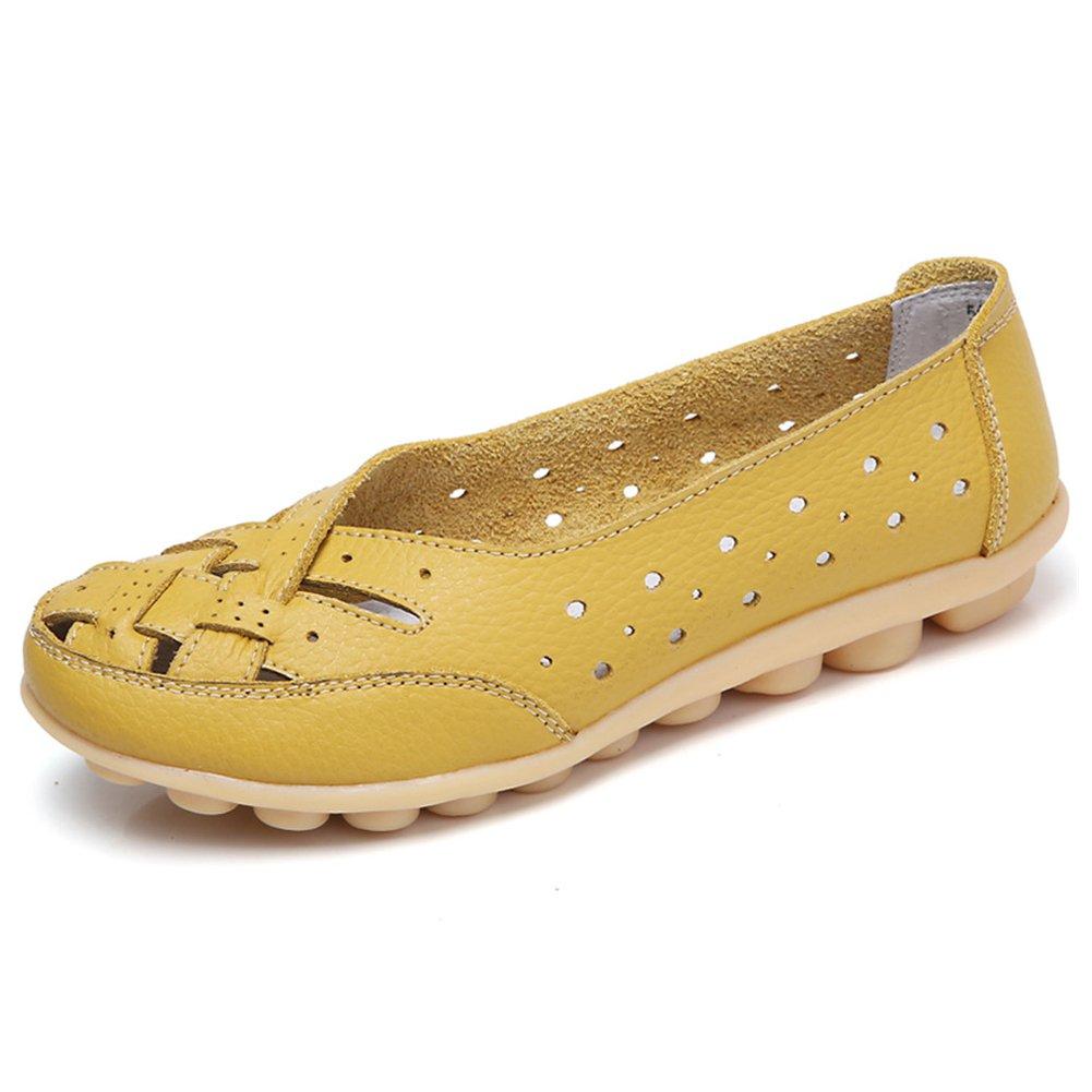 innovative design df64c aedbf SCIEU Damen Mokassin Bootsschuhe Hohl Leder Loafers Schuhe Flache Fahren  Halbschuhe Slippers 39 EUGelb