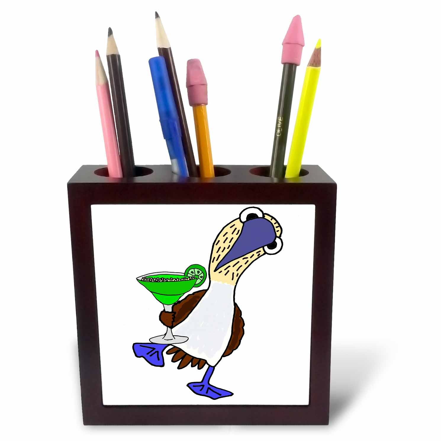 PH 260948//_ 1 12,7/cm /tile Pen Holder 3DROSE Funny cute Blue Footed Booby Bird Drinking Margarita Cartoon/