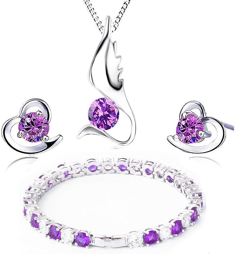 findout gentle angel amatista colgante de plata collar + pendientes con cristales de + corazón doble juego de pulseras, para mujer. (f151)