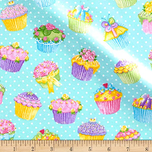 Cupcake Fabric (Pizzaz Flannel Glitter Cupcakes Blue Fabric By The Yard)