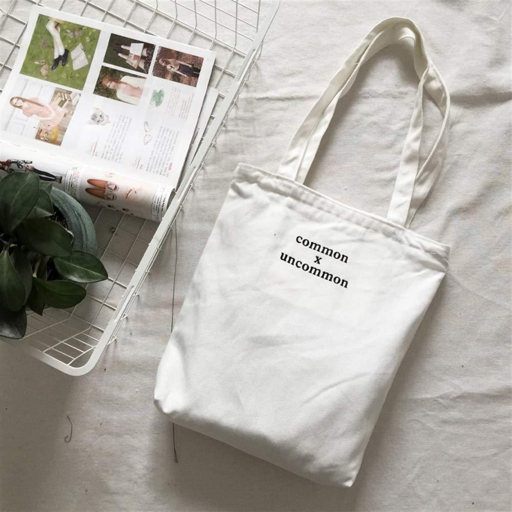 WHXYAA Large Capacity Ladies Uncommon Canvas Handbag Shoulder Shopping Bag(White) Simple Atmosphere