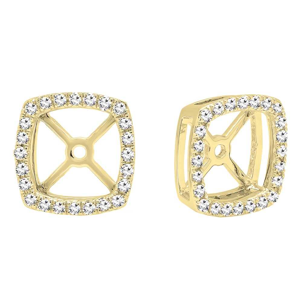 0.30 Carat (Ctw) 14K Yellow Gold Round White Diamond Removable Jackets For Stud Earrings 1/3 CT