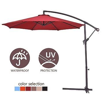 8af716050d COSTWAY 2.7M Outdoor Parasol Sun Shade Cantilever Banana Hanging Umbrella  Patio Garden (Burgundy)