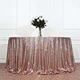 3e Home 90'' Round Sequin TableCloth for Wedding Party Cake Table, Rose Gold