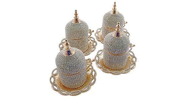(Juego de 4) hecho a mano turco griego taza de café Espresso Demitasse plato recubierto de cristales de Swarovski Guest para servir con soporte y tapa: ...