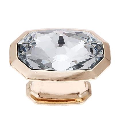 BleuMoo 2Pcs Diamond Crystal Glass Door Drawer Cabinet Wardrobe Pull Handle Knob 30mm