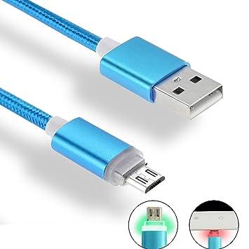 iMusi Cable Cargador USB con LED, Cable de Carga Rápida para Android, USB Cable de Datos con indicador LED (1m, Nylon, Azul)