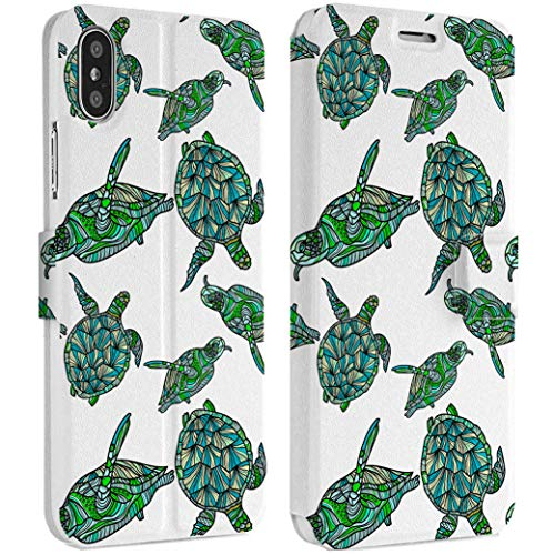 Wonder Wild Green Turtles IPhone Wallet Case X/Xs Xs Max Xr 7/8 Plus 6/6s Plus Card Holder Accessories Smart Flip Clear Design Protection Cover Reptiles Diamondbacks Shell Animals Pattern Swimmers