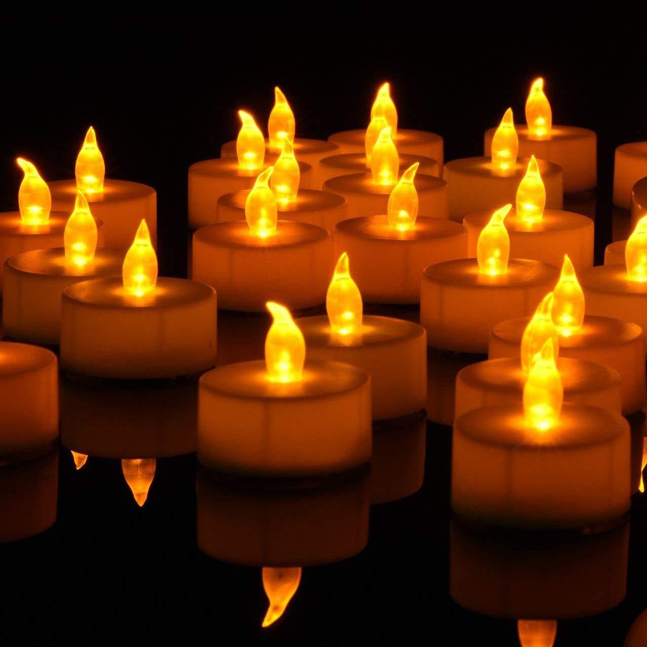 Lot de 36 bougies LED Bougies CR2032 piles Bougies Unscented Bougie chauffe-plat sans flamme claire vacillante gef/älschte Bougie pour la maison d/écorations de No/ël Mariage