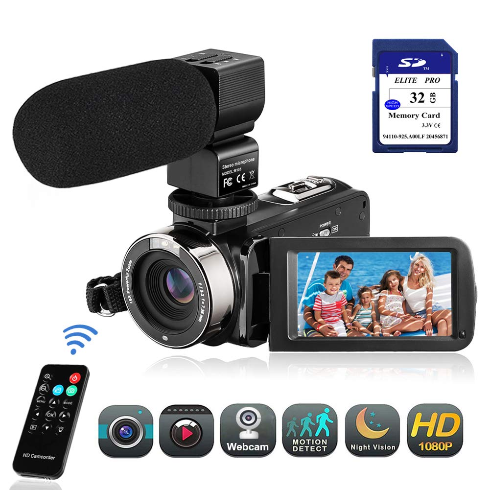 Video Camera Camcorder FHD 1080P 24.0MP Digital Camera YouTube Vlogging Camera 3.0 inch IPS Touch Screen IR Night Vision 16X Digital Zoom with External Microphone, Remote Control and 32GB Memory Card by Aazomba