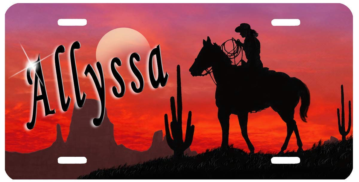 Horse Stallion Cowgirl Auto Size License Plate Gifts Ladies Men Car Accessories Sunset Cowgirl Personalize