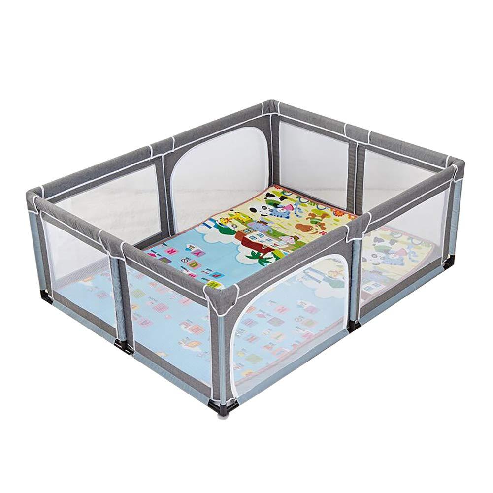 子供のゲームの遊び場屋内家庭ベビー幼児フェンス地面フェンスベビーセーフティクロールマットアンチフォールズフェンス、リネングレー、150×190×70cm (色 : Playpen+mats)  Playpen+mats B07JB81K4G