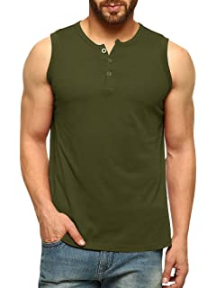 f67820eb86191 Makkrom Mens Slim Fit Sleeveless Button Henley T Shirt Athletic Tank Tops