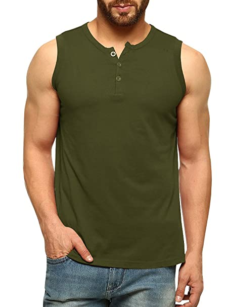 f8a1c48d Amazon.com: LAICIGO Mens Sleeveless Henley Tank Tops Slim Fit Button Down  Athletic Muscle T-Shirts: Clothing