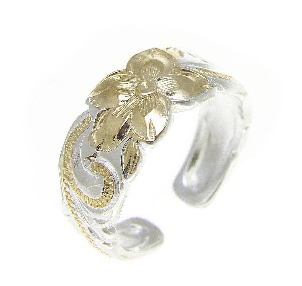 925 sterling silver 2 tone yellow gold plated Hawaiian plumeria flower scroll cut out edge 8mm toe ring