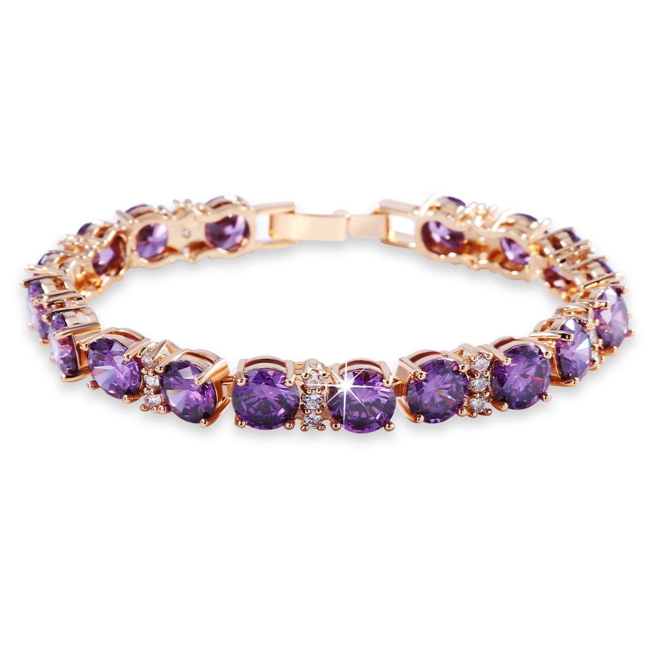 GULICX Ladies Swarovski Element Crystal Tennis Tennis Bracelets Purple Gold Plated for Women Girls