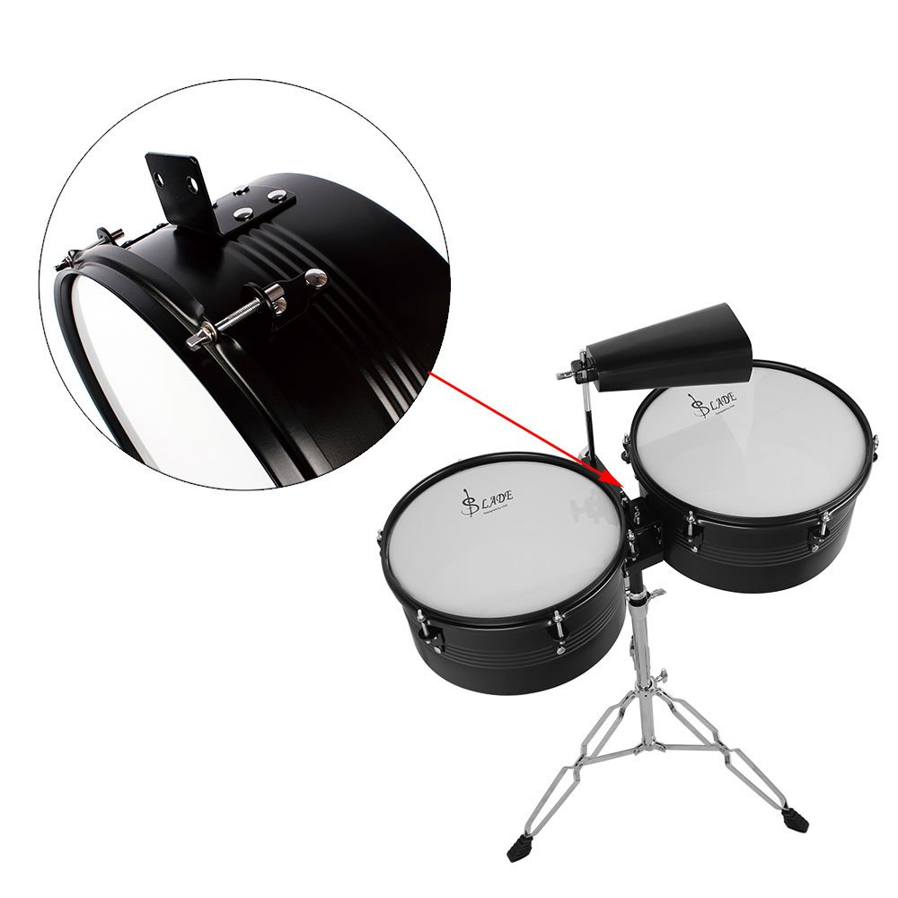 ammoon Latin Percussion Timbales Drum Set with Stand and Cowbell