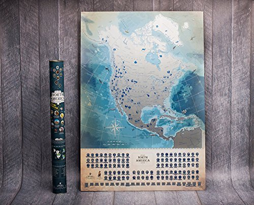 Deluxe North America Scratch Off USA Map, Wall Poster 18.5 x 27 Inches, Glow-In-The-Dark Feature, USA MAP, 100 Best Places To See, Flags and National Parks, Includes Pins, Scratcher and Marker! - North America Wall Map