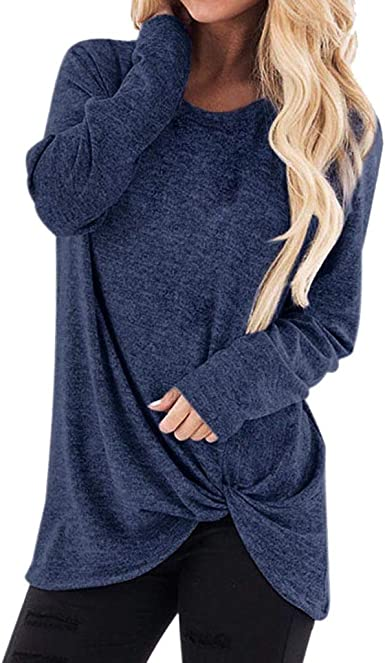 Camiseta de Manga Larga Mujer, Elegante Moda Color sólido Manga Larga Otoño Verano Blusas Camisa Cuello Redondo Sudadera Tumblr Basica Camiseta Slim Fit Tops Casual Fiesta Original T-Shirt vpass: Amazon.es: Ropa y