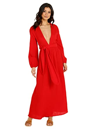 7207f0f847695 Amazon.com  Mara Hoffman Women s Luna V Neck Belted Long Sleeve Cover Up  Dress  Clothing