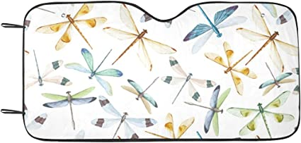 INTERESTPRINT Auto Sun Shade for Windshield Foldable Dragonfly and Flowers Design Car Sunshade Blocks UV Rays Sun Visor Protector