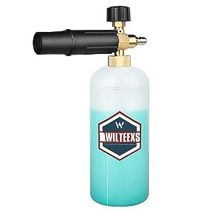 WILTEEXS Adjustable Snow Foam Lance 1L Foam Cannon Soap Dispenser for 1/4 Inch Pressure Washer