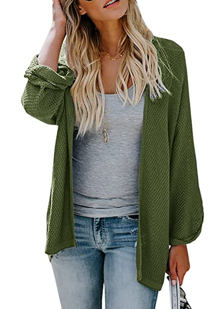 2f76b98a8 Huiyuzhi Womens Cardigan Sweaters Oversized Lightweight Loose Pleated Cuffs  Long Casual Open Front Knit Sweater Drape ...