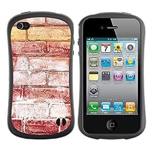 Suave TPU GEL Carcasa Funda Silicona Blando Estuche Caso de protección (para) Apple Iphone 4 / 4S / CECELL Phone case / / Brick Wall Red Art Street Grafiti White /