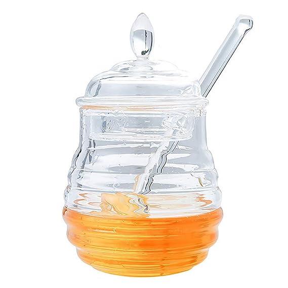ALLOMN Tarro de miel Tarros de miel transparentes con cuchara Mermelada de mermelada de miel Tanque de almacenamiento de exprimido de miel Muffins Companion ...