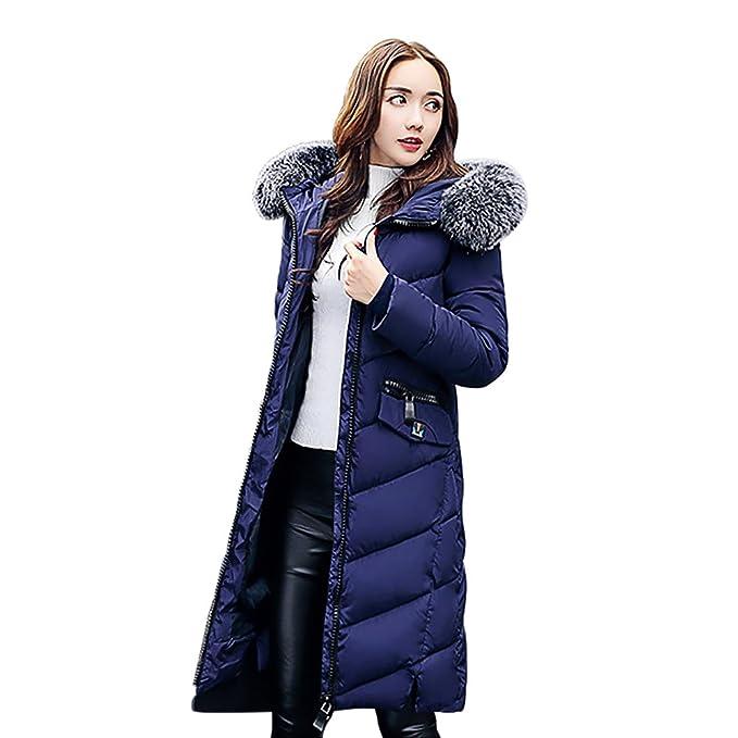 321d8963d25f BAINASIQI Donna Piumino Cappotto Elegante Giacca invernale con Cappuccio e pelliccia  Spessa Imbottito Lunga Parka (
