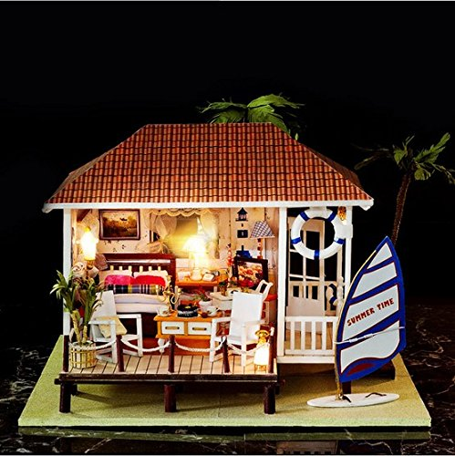 Ploy Miniature Wooden Dollhouse DIY KIT- Loving Family Handmade Doll House With Furniture accessories, LED Light + Music Movement, 3d Puzzles Creative…