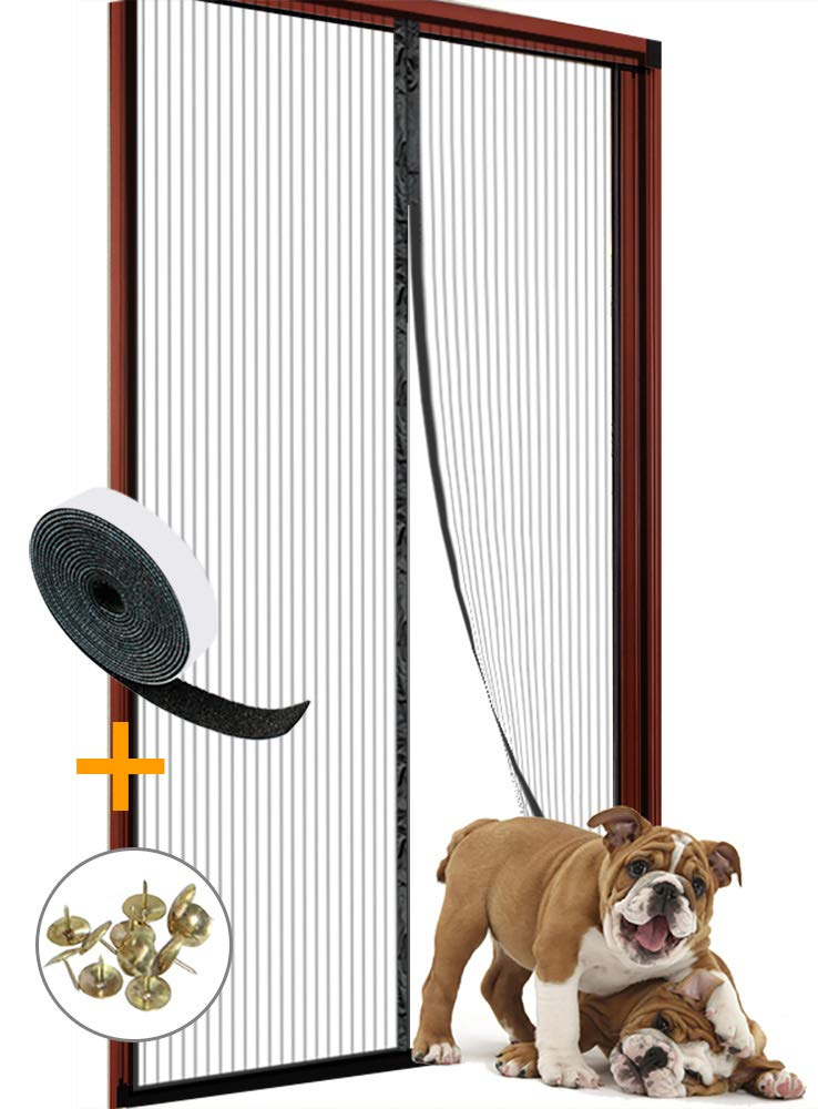 Magnetic Screen Door 34x82 for Sliding Glass Door, French Doors, Patio Doors, Heavy Duty Mesh Curtain and Full Frame Velcro by WUJOMZ