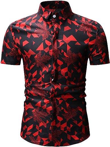Camisa de Manga Corta con Estampado de Hoja de Arce para Hombre Slim cómodo Shirt Top Verano Moda Casual Solapa Camisas