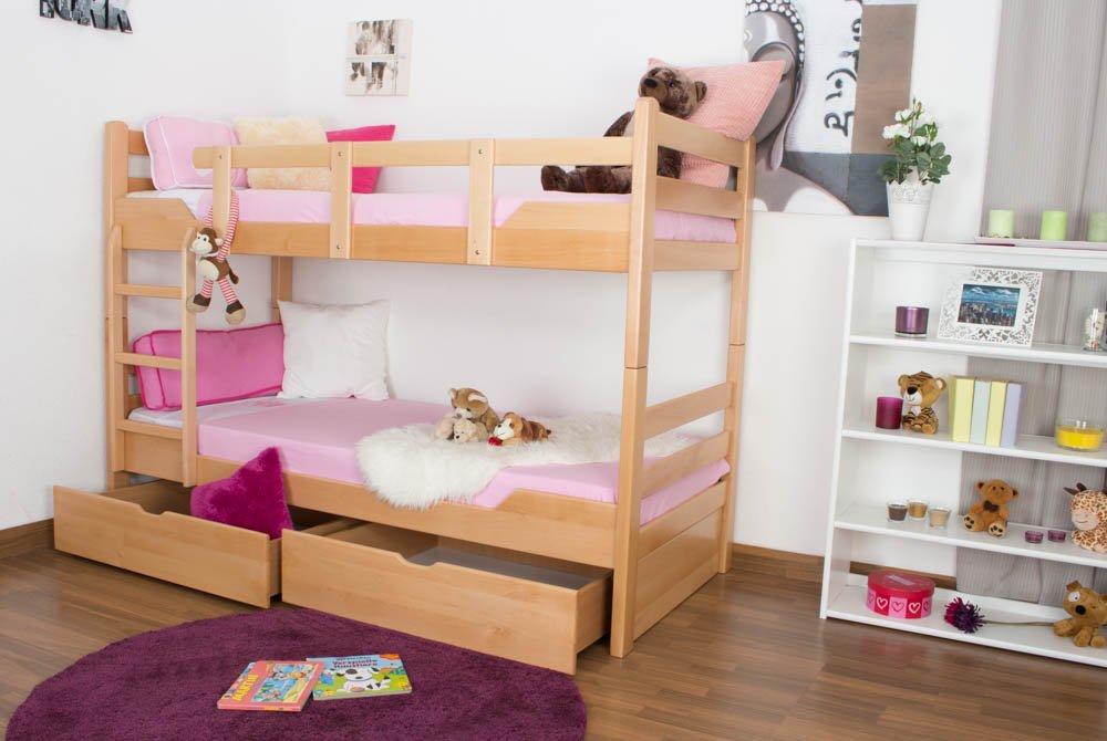 Stockbett mit Bettkasten Easy Sleep K12/n inkl. 2 Schubladen und 2 Abdeckblenden, Kopf- und Fußteil gerade, Buche Vollholz massiv Natur - Maße: 90 x 200 cm, teilbar