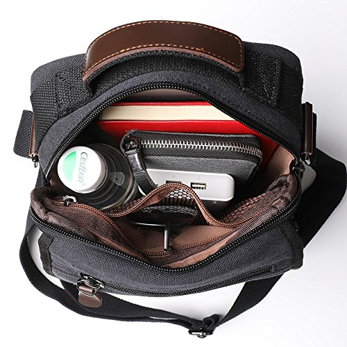 XINCADA Mens Bag Messenger Bag Canvas Shoulder Bags Travel Bag Man Purse Crossbody Bags for Work Business (black) by XINCADA (Image #5)