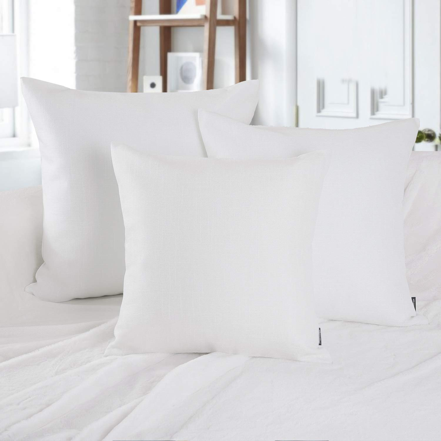 Phantoscope Set of 2 Soft Textured Lined Linen Burlap Throw Pillow Cushion Cover White 22