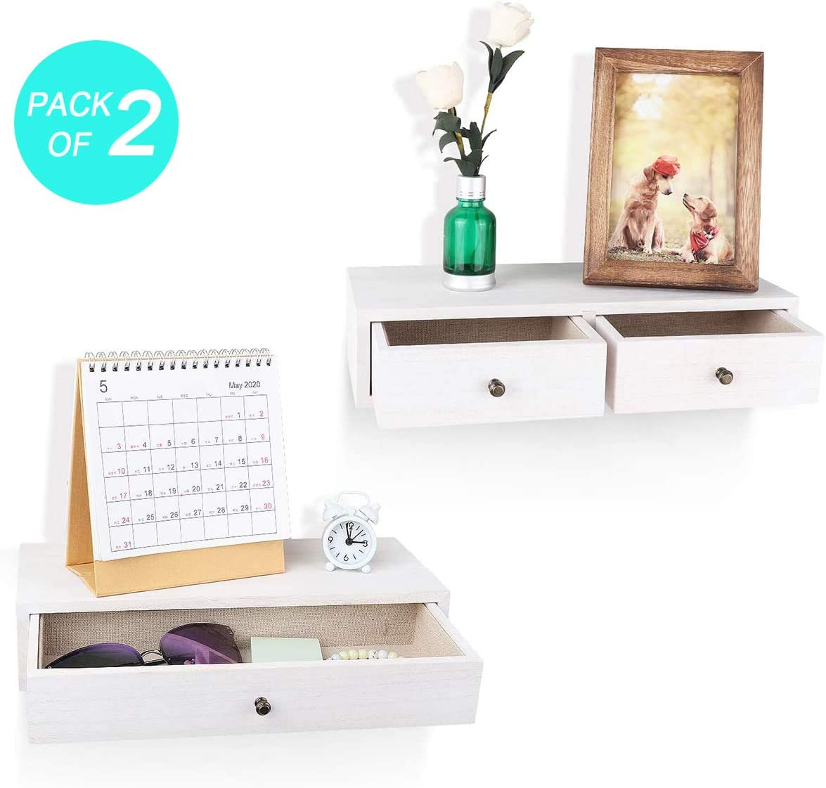 Emfogo Floating Shelf with Drawer Small Rustic Wood Wall Shelves for Storage and Display Multiuse Shelf Pack of 2 (White)