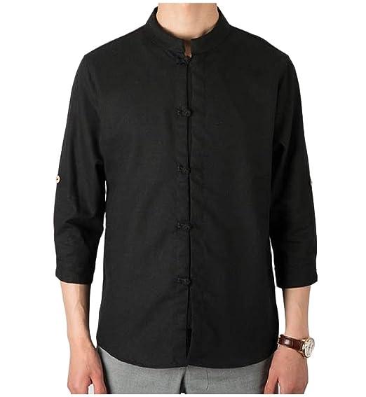 70a3323aa Andopa Men Linen Chinese Style 3 4 Sleeve Mandarin Collar Shirt Blouse Tops  Black S