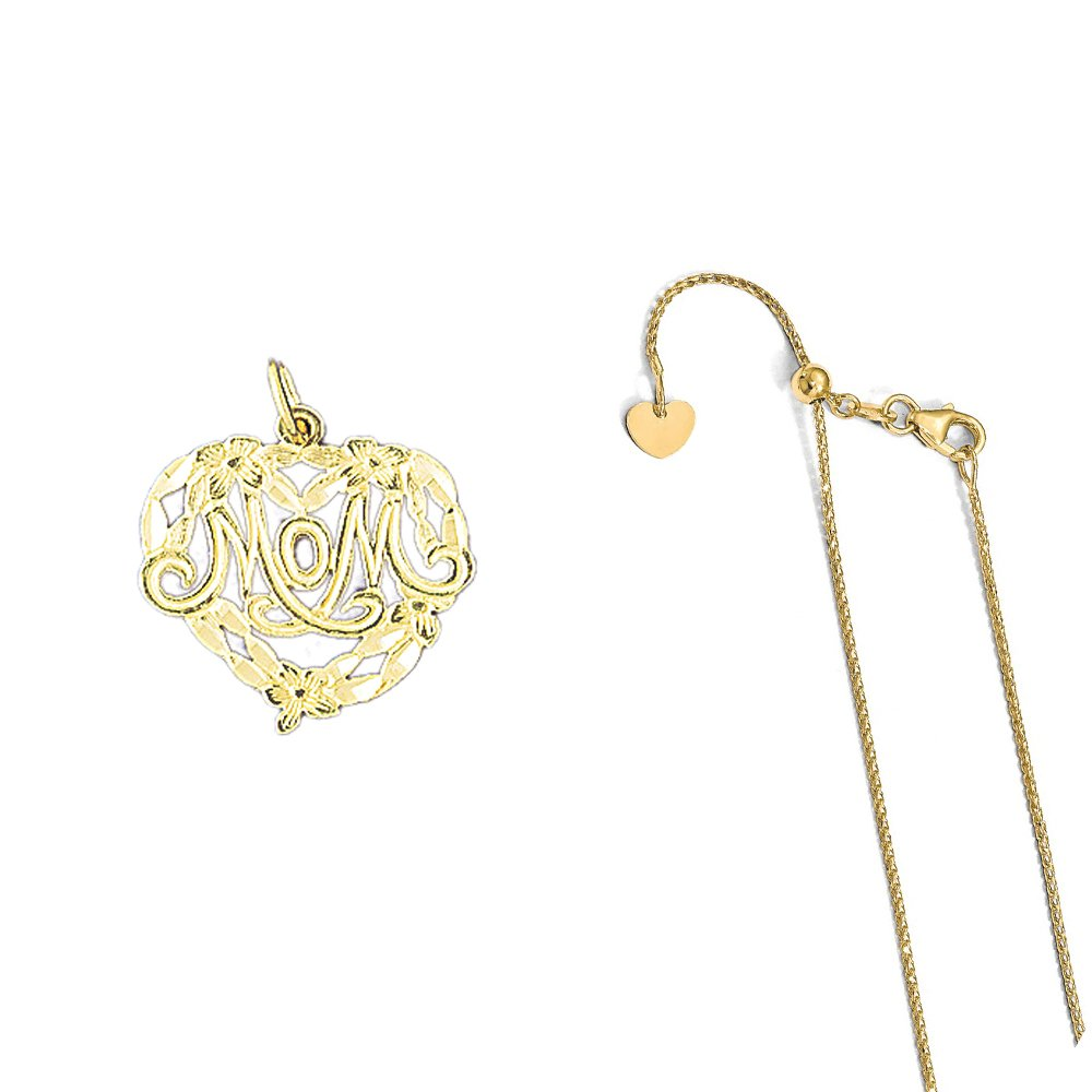 14K Yellow Gold Mom Pendant on an Adjustable 14K Yellow Gold Chain Necklace
